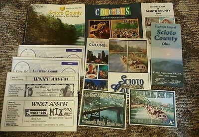 Mixed Lot of 13 Ohio Maps Columbus Scioto County Visitor Guides + 2 Post Cards