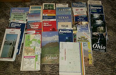 Mixed Lot of 29 Road Maps Travel Guides OH TN WV VA TX FL CO KY NM USA America