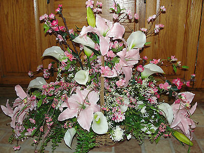 Mothers Day Pink Table Dining Room Decor Silk Flower Basket Lilly Arrangement