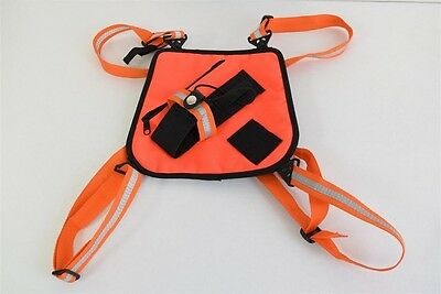 Bee Chest Pro Radio UHF Harness Pack Safety Hi Vis Orange Reflective MADE IN USA