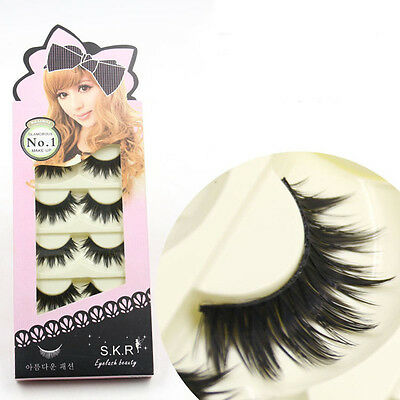 5 Pairs Long Thick Makeup False Eyelashes Fake Eye Lash Extension Soft Handmade