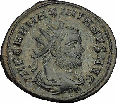 Maximian receiving Victory from Jupiter 292AD  Ancient Roman Coin i51077