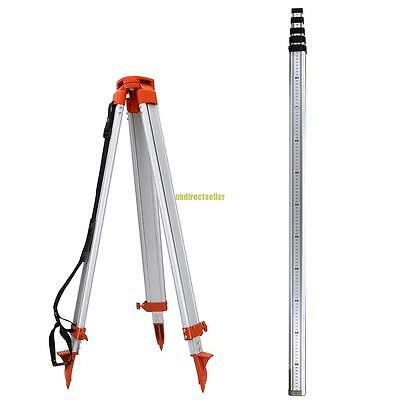 1.6M Aluminum Tripod & 5M Metric Staff For Auto Rotary Laser Level Universial