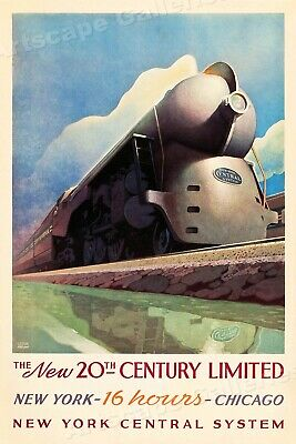 New York Central Line 20th Century Limited Vintage Railroad Travel Poster  16x24