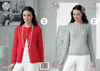 e88d67ecdea44d King Cole 4405 Easy Knit Knitting Pattern Sweater and Cardigan in Glitz  Chunky