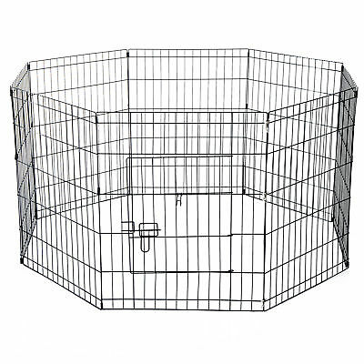 Pet Cage Metal Frame Playpen Panel Dog Wire Run Fence Play Puppy Outdoor Indoor