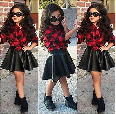 Fashion Girl Kids Princess Plaid Tops Shirt +Leather Skirt Outfits Clothes Sets