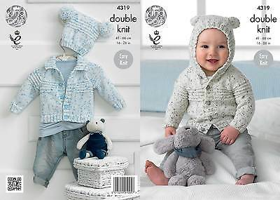 King Cole 4319 Knitting Pattern Cardigans and Hat in King Cole Smarty DK