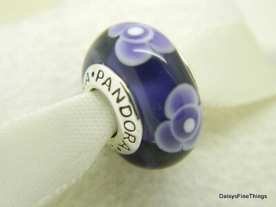 d808d6854 Nwt Authentic Pandora Charm Murano Glass Purple Flowers For You #790643  Retired