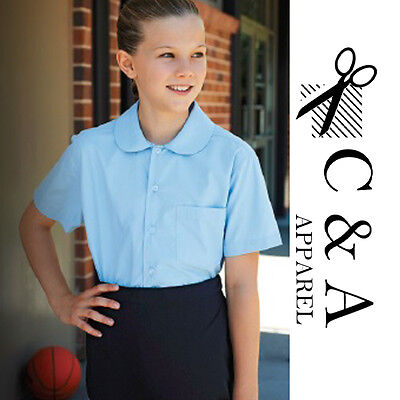 Girls Peter Pan Collar Short Sleeve School shirt w/ Spare Button Name tag Label