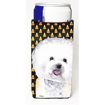 Bichon Frise Candy Corn Halloween Portrait Michelob Ultra s for slim cans