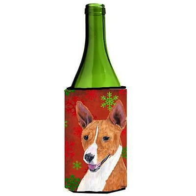 Basenji Red and Green Snowflakes Holiday Christmas Wine Bottle Hugger