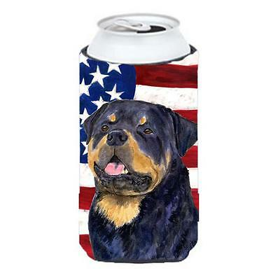 Usa American Flag With Rottweiler Tall Boy Hugger 22 To 24 oz.