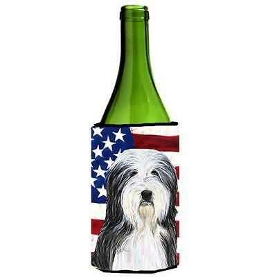 Usa American Flag With Bearded Collie Wine Bottle Hugger 24 oz.