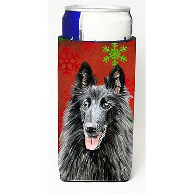 Belgian Sheepdog Red & Green Snowflakes Holiday Christmas Michelob Ultra s Fo...