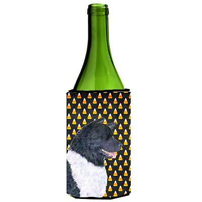 Akita Candy Corn Halloween Portrait Wine Bottle Hugger 24 oz.