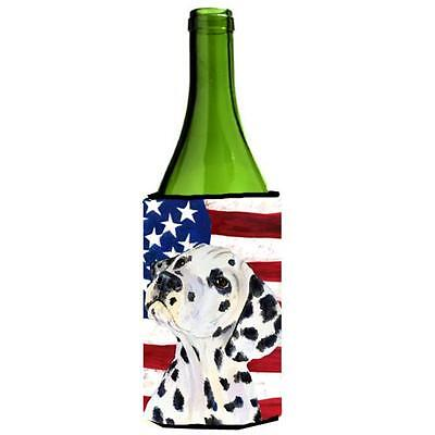 Carolines Treasures Usa American Flag With Dalmatian Wine Bottle Hugger 24 oz.