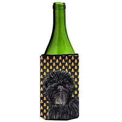 Affenpinscher Candy Corn Halloween Portrait Wine Bottle Hugger 24 oz.