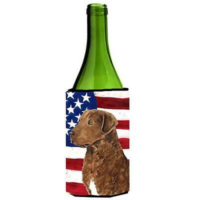 Usa American Flag With Curly Coated Retriever Wine Bottle Hugger 24 oz.