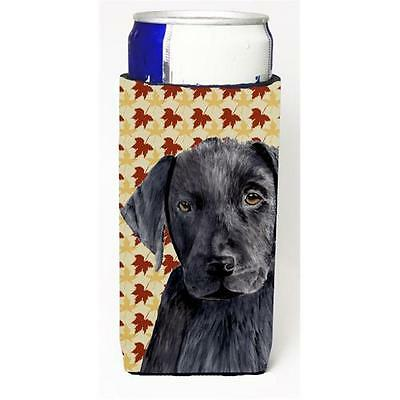 Labrador Black Fall Leaves Portrait Michelob Ultra s For Slim Cans 12 oz.