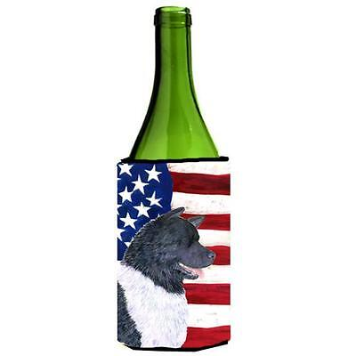 Carolines Treasures Usa American Flag With Akita Wine Bottle Hugger 24 oz.