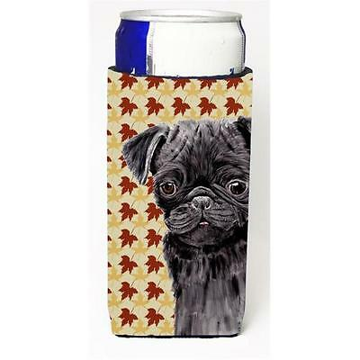 Pug Black Fall Leaves Portrait Michelob Ultra s For Slim Cans 12 oz.