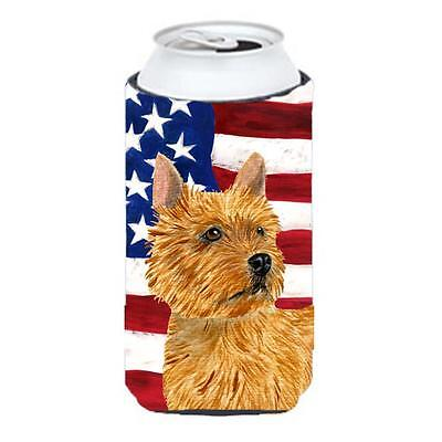 Usa American Flag With Norwich Terrier Tall Boy Hugger 22 To 24 oz.