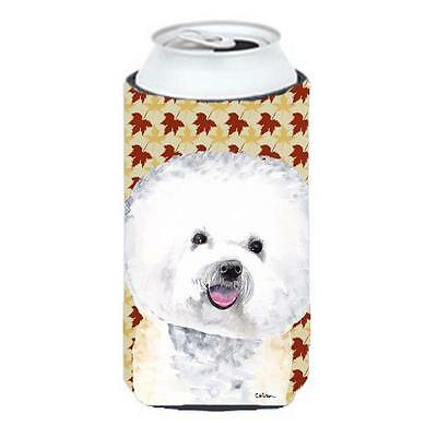 Bichon Frise Fall Leaves Portrait Tall Boy Hugger 22 To 24 oz.
