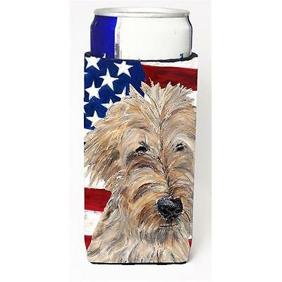 Goldendoodle Usa American Flag Michelob Ultra bottle sleeve for Slim Can