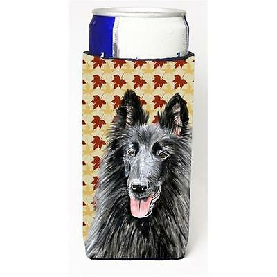 Belgian Sheepdog Fall Leaves Portrait Michelob Ultra bottle sleeve for Slim Can