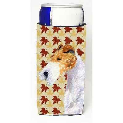 Fox Terrier Fall Leaves Portrait Michelob Ultra bottle sleeve for Slim Can
