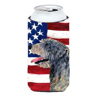 Usa American Flag With Irish Wolfhound Tall Boy Hugger 22 To 24 oz.