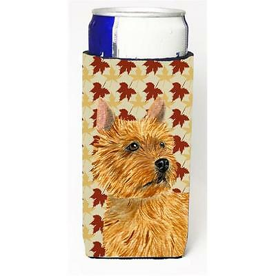 Norwich Terrier Fall Leaves Portrait Michelob Ultra bottle sleeve for Slim Can