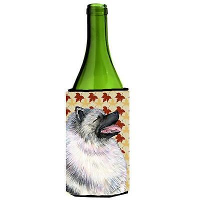Carolines Treasures Keeshond Fall Leaves Portrait Wine bottle sleeve Hugger