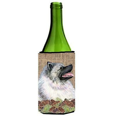 Keeshond on Faux Burlap with Pine Cones Wine bottle sleeve Hugger 24 oz.