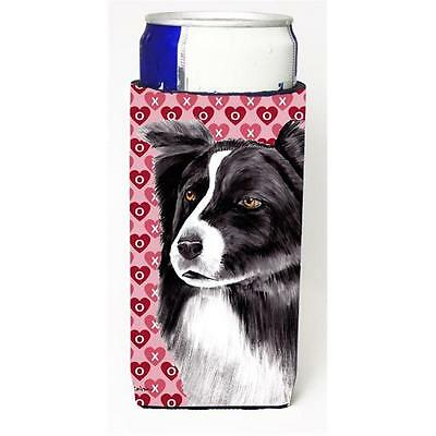 Border Collie Hearts Love and Valentines Day Portrait Michelob Ultra bottle s...