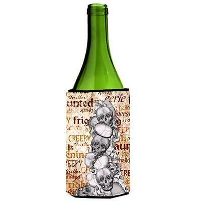 Creepy Haunted And Frightful With Skulls Halloween Wine bottle sleeve Hugger ...