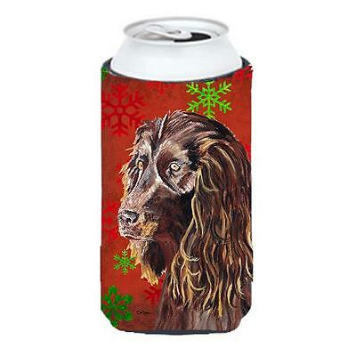 Boykin Spaniel Red Snowflake Christmas Tall Boy bottle sleeve Hugger 22 To 24...
