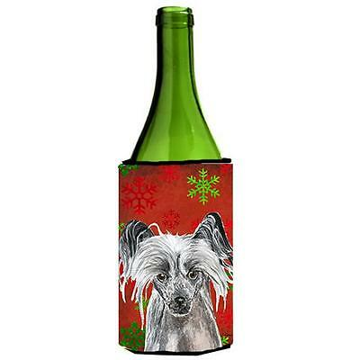 Chinese Crested Red Snowflake Christmas Wine bottle sleeve Hugger 24 oz.