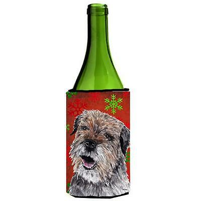 Border Terrier Red Snowflake Christmas Wine bottle sleeve Hugger 24 oz.