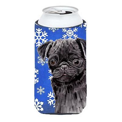Pug Winter Snowflakes Holiday Tall Boy bottle sleeve Hugger 22 To 24 oz.