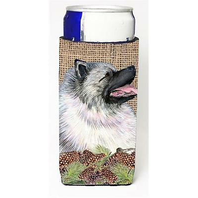 Keeshond on Faux Burlap with Pine Cones Michelob Ultra bottle sleeves for sli...
