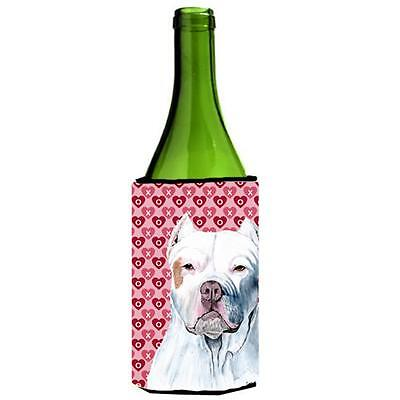 Pit Bull Hearts Love and Valentines Day Portrait Wine bottle sleeve Hugger • AUD 48.26