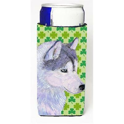Siberian Husky St. Patricks Day Shamrock Portrait Michelob Ultra bottle sleev...