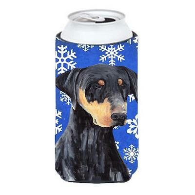 Doberman Winter Snowflakes Holiday Tall Boy bottle sleeve Hugger 22 To 24 oz.