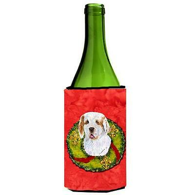 Clumber Spaniel Christmas Wreath Wine bottle sleeve Hugger 24 oz.