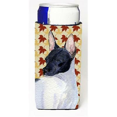 Rat Terrier Fall Leaves Portrait Michelob Ultra bottle sleeve for Slim Can