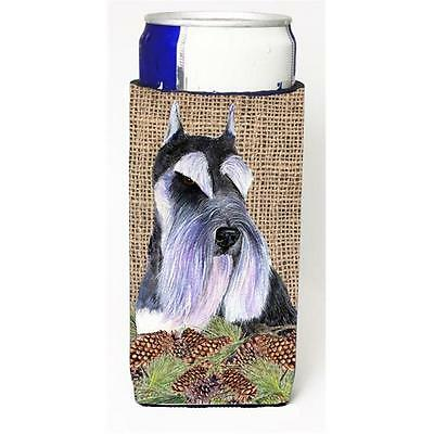 Schnauzer On Faux Burlap With Pine Cones Michelob Ultra bottle sleeve for Sli...