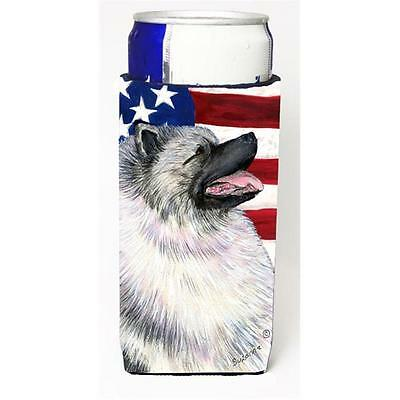 Usa American Flag With Keeshond Michelob Ultra bottle sleeve for Slim Can