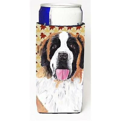 Saint Bernard Fall Leaves Portrait Michelob Ultra bottle sleeves For Slim Can...
